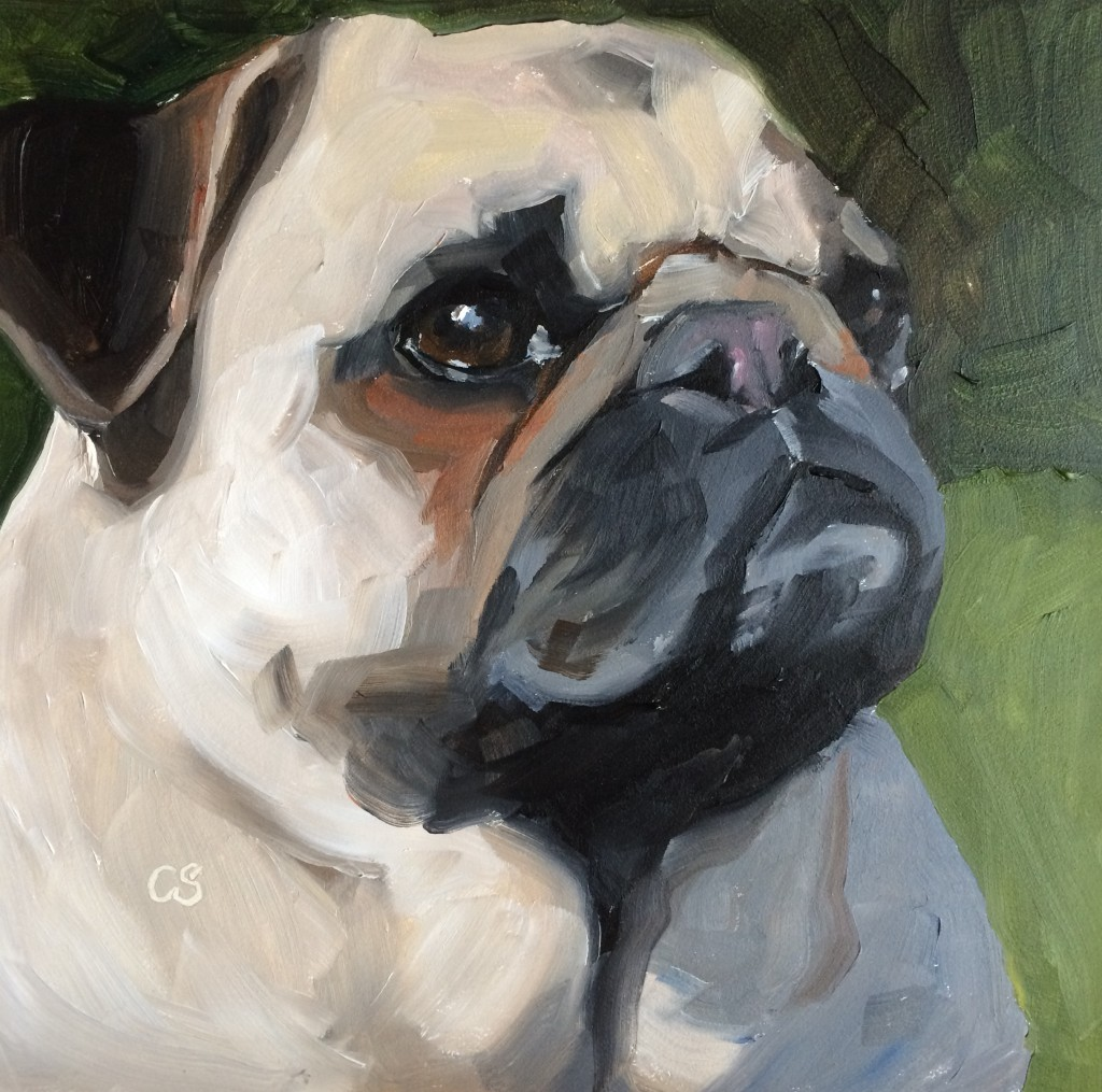 """Pugsley"" 6X6 in. Oils on gessobord."
